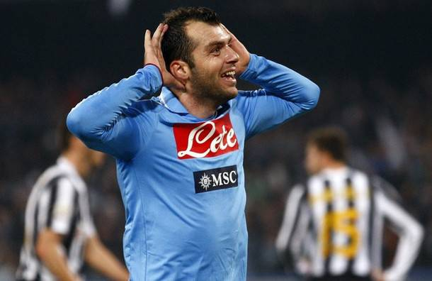 Napoli's Pandev celebrates after scoring against Juventus during their Serie A soccer match at San Paolo stadium in Naples